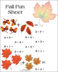 of this fun math worksheet preschool fall addition kindergarten