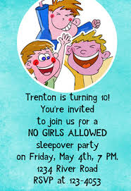 no girls allowed free printable sleepover party invitation