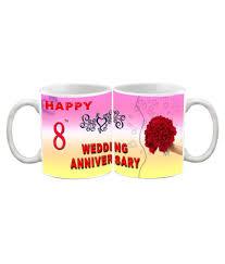 8th wedding anniversary efw happy 8th wedding anniversary printed ceramic coffee mug 325