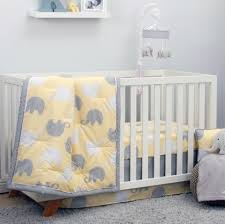 Golf Crib Bedding by Nojo The Dreamer Collection Elephant Yellow Grey 8 Piece Crib