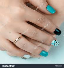 female hand trendy manicure nail design stock photo 533347828