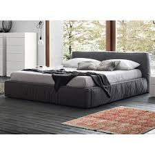 twist dark grey upholstered bed by rossetto contemporary bedroom