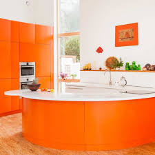 decorating with warm rich colors bright orange laminate kitchen