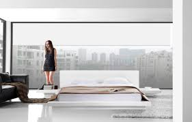 Modern Platform Bed Frame Bedroom Charming Modern Bedroom Decoration Using Black Leather