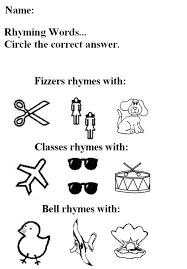 free worksheets rhyming worksheets for kindergarten free free