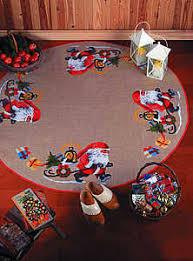 santa s elves tree skirt cross stitch kit by permin of