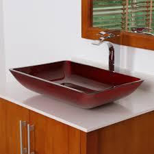 Glass Vessel Sinks 7002 Elite Illusion Burgundy Design Tempered Glass Bathroom Vessel