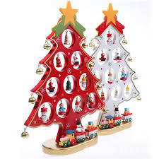 12 decorative wooden tree with miniature wood ornaments
