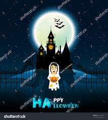 the background of halloween happy halloween castle horror on top stock vector 491166781