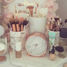 marble and rose gold dresser makeup organization pinterest