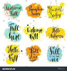 fall theme sayings modern calligraphy style stock vector 469359548