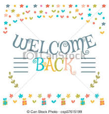 eps vectors of welcome back text with colorful design elements