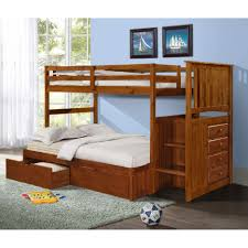 furniture brown wood bunk bed with double beds and stairs