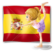 Spanish Flag Illustration Of A Gymnast In Front Of The Spanish Flag On A White