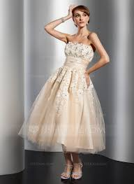 a line princess strapless tea length tulle wedding dress with