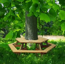 Build A Round Picnic Table by Tree Table Bench 638 95 Naturalplaygroundscompany Natural