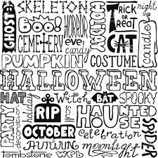 doodles handdrawn halloween text words stock vector art 180298843