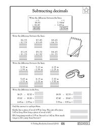 4th grade 5th grade math worksheets subtracting decimals 2