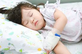 sick bed little girl sick on the sick bed stock photo picture and royalty