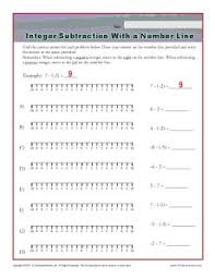 integer subtraction with a number line integer worksheets