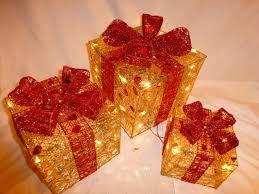 indoor set small gold u0026 red parcel light up christmas parcels