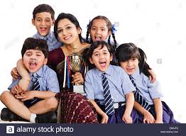 indian group kids student and teacher enjoy stock photo royalty