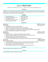 Resume Samples Objective Summary by Esthetician Resume Sample Objective Resume For Your Job Application