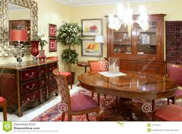 classic living room with wooden furniture royalty free stock