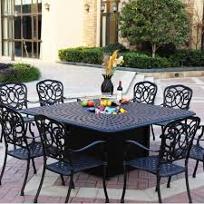 patio dining table set darlee florence 9 piece patio fire pit dining set with ice bucket insert