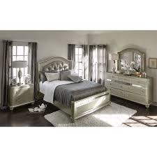 Upholstered Headboard Bedroom Sets Serena Queen 6 Piece Bedroom Set Platinum American Signature