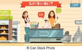 Supermarket Cash Desk Vector Illustration Of Vector Cartoon Sitting Behind Cash