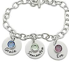 name engraved bracelets charm bracelet personalized with name and birthstones