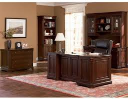 dark finish hardwood executive desk for home office wood office