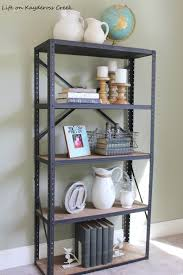 how to create an industrial book shelf from an old metal shelving