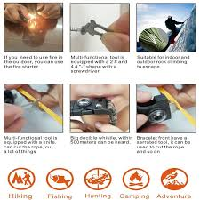survival bracelet whistle images 15in1 survival flint fire starter paracord whistle gear buckle jpg