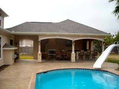 Texas Custom Patios Attached Covered Patio Cabana With Curtains Pool House With