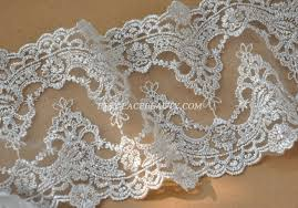 wide lace ribbon 2 yards silver lace trim retro embroidered tulle lace