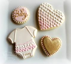 baby shower cookies set pink and white and gold ruffles www