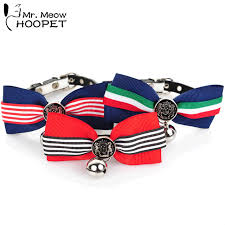 cat collar striped tie retro pattern buckle collars with bells