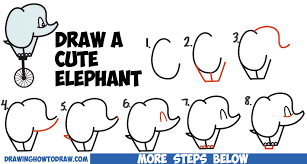 how to draw a cute cartoon baby elephant riding a unicycle from