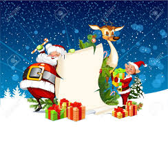 christmas card santa claus reindeer elves royalty free