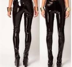 Real Leather Leggings Glossy Vinyl Skinny Leggings Pencil Ladies Punk Patent