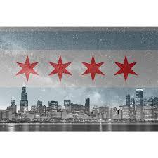 Chicaho Flag Chicago Flag Skyline Stars Wall Graphic U2013 Zapwalls