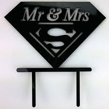 superman wedding cake topper mr mrs superman acrylic wedding day cake topper