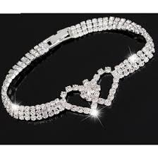 white gold crystal bracelet images 18kt white gold plated crystal double heart tennis bracelet new PNG