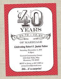 40th anniversary invitations 40th anniversary invitation ruby vintage anniversary party