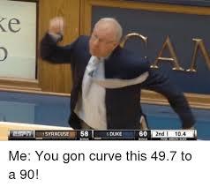Syracuse Memes - lestii syracuse 58 sduke 60 i 2nd 104 me you gon curve this 497 to a