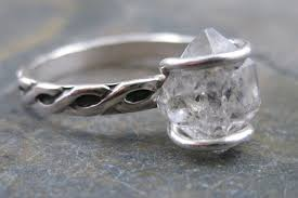 unique stone rings images Diamond engagement rings wedding jewelry with rough herkimer stone 4 jpg