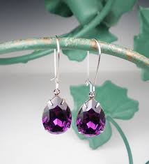 purple drop earrings amethyst rhinestone earrings violet purple swarovski drop earrings