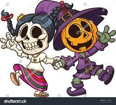 animated halloween clipart dia de muertos halloween characters holding stock vector 117258391